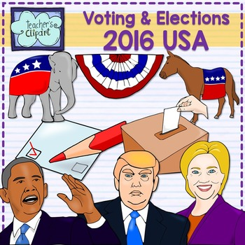 Vote clipart 2016 svg free stock Elections & Voting 2016 USA - Candidates realistic clip art {Social Studies} svg free stock