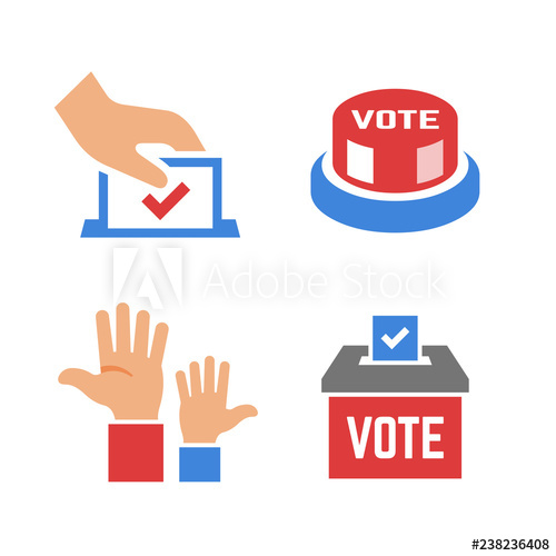 Voter clipart vector silhouette clip royalty free Vector vote color icon with voter hand, ballot box, click ... clip royalty free