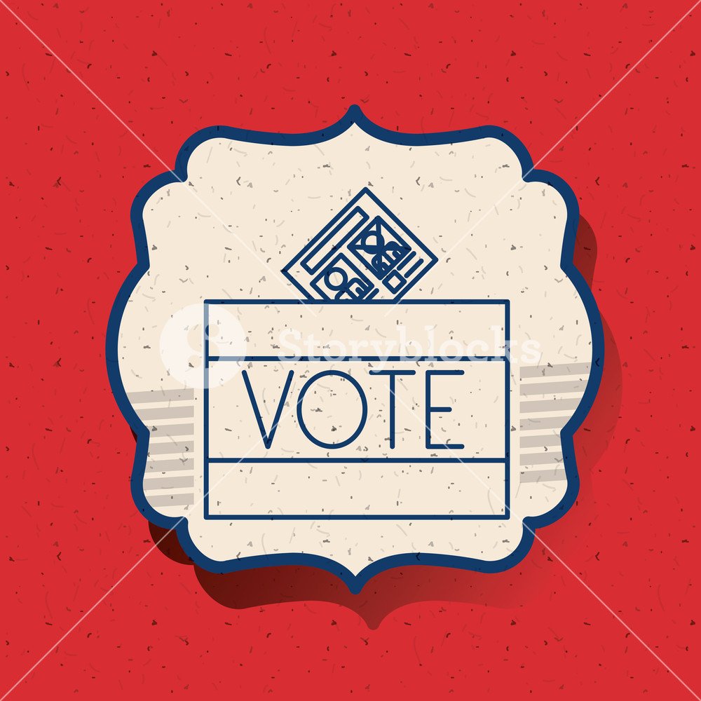 Voter clipart vector silhouette banner library stock Box inside frame icon. Vote election nation and government ... banner library stock