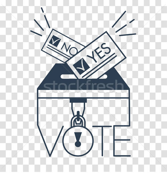 Voter clipart vector silhouette picture free library Voting concept in linear style silhouette vector ... picture free library