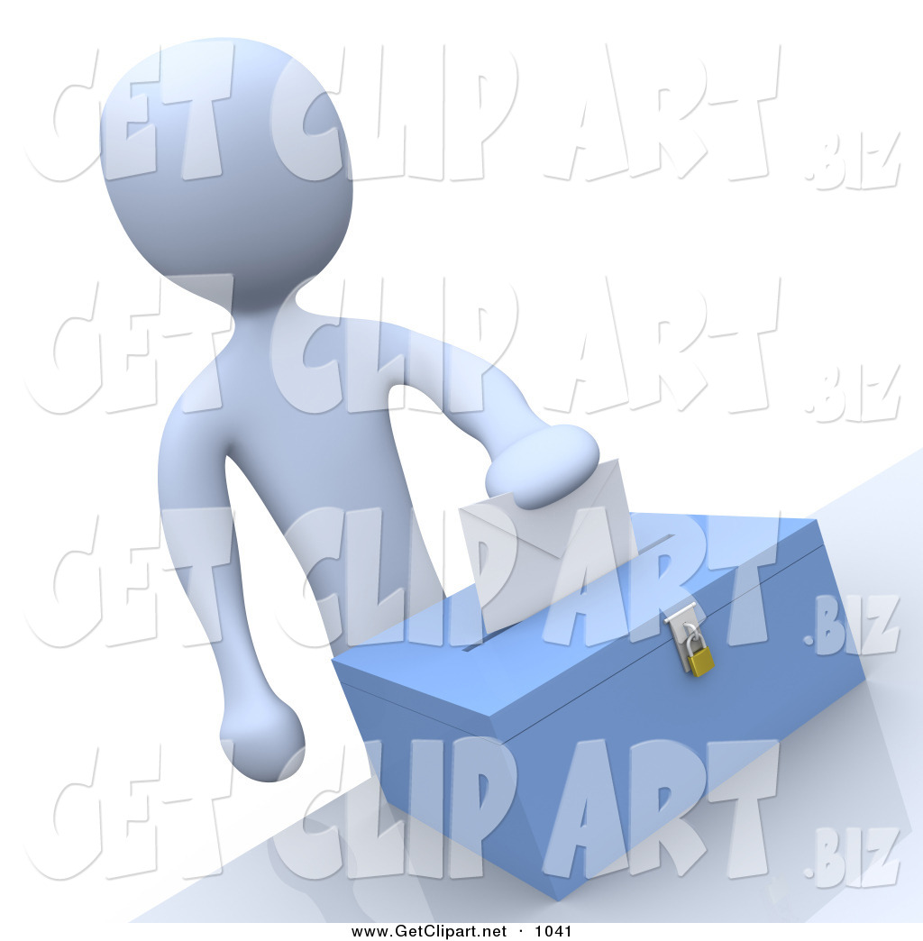 Voting for president clipart banner royalty free library 3d Clip Art of a Pale Blue Man Putting Their Voting Envelope ... banner royalty free library