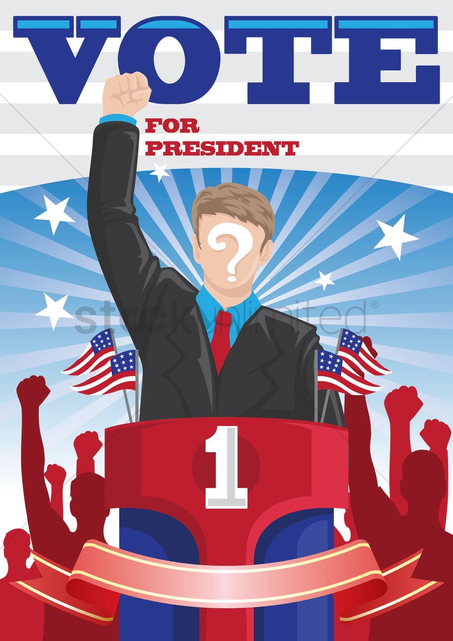 Voting for president clipart library Vote for president poster Vector Image - 1522857 ... library