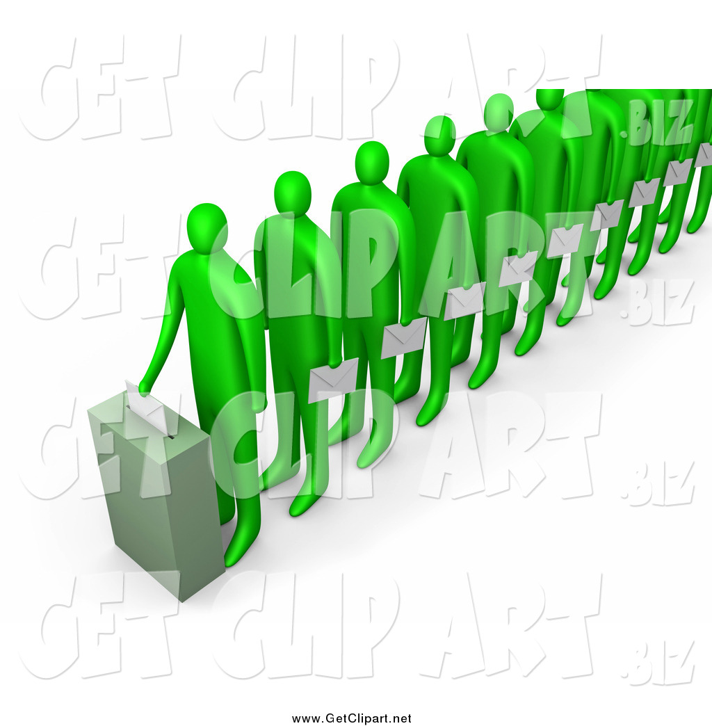 Voting line clipart clip free Clip Art of a Line of 3d Green People Holding Ballots and ... clip free