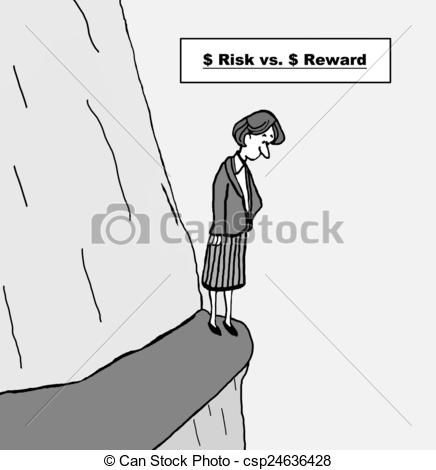 Vs clipart banner black and white download Clip Art of Risk vs Reward - Cartoon of businesswoman on ledge ... banner black and white download