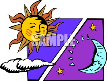 Vs clipart clip black and white library Sun with Clouds Vs. Moon and Stars - Royalty Free Clip Art Picture clip black and white library