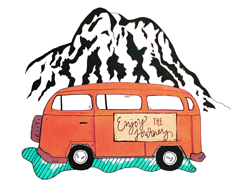 Vw adventure van clipart free library Vw Bus Mt Enjoy The Journey by Chelsey lanter on Dribbble free library