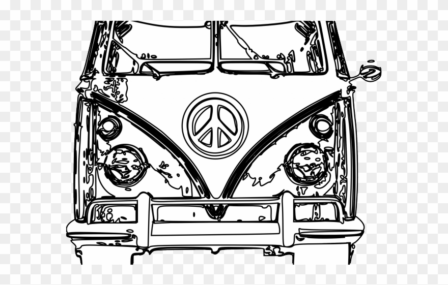 Vw bus clipart black and white clipart transparent Hippie Clipart Vw Camper Van - Png Download (#2702606 ... clipart transparent