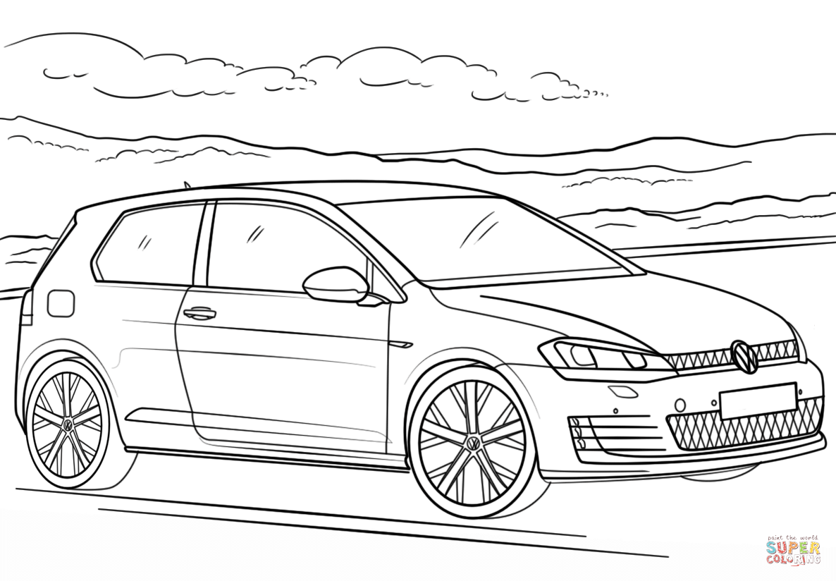 Vw gti clipart clipart transparent library Volkswagen Golf GTI coloring page | Free Printable Coloring ... clipart transparent library