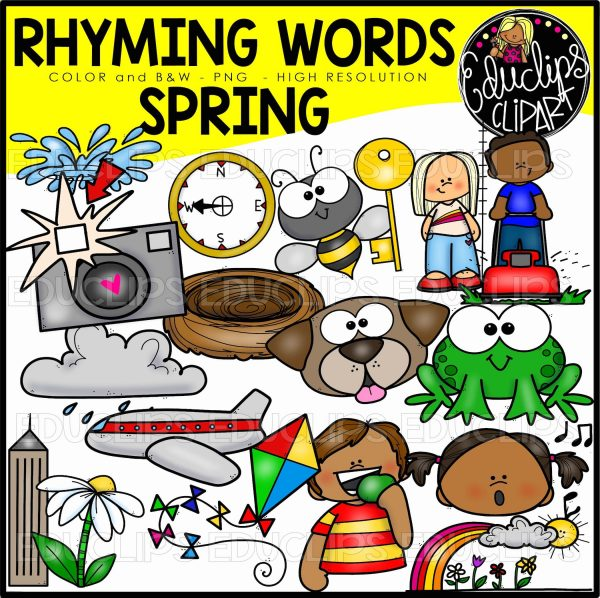 W words clipart png stock Spring Rhyming Words Clip Art Set png stock