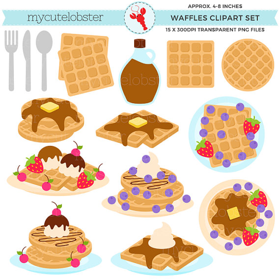 Waffle clipart cute png free library Waffles Clipart Set - breakfast, food, waffle clip art ... png free library