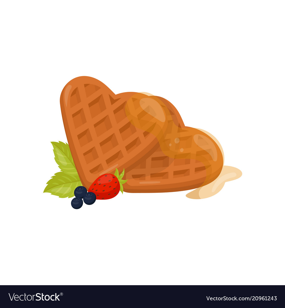 Waffle heart clipart png freeuse library Heart shaped waffles with honey ripe strawberry png freeuse library