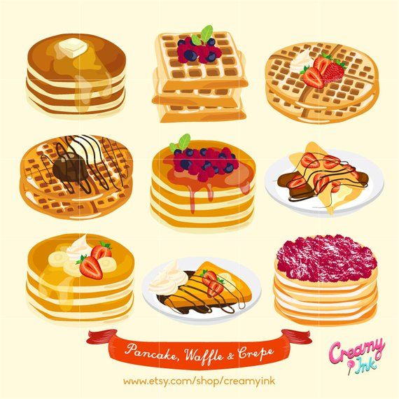 Waffle with mouth clipart freeuse download Waffle & Pancake Digital Vector Clip art/ Crepes Cakes ... freeuse download