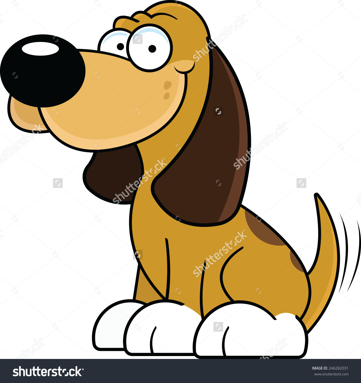 Wagging dog tail clipart clip free stock Cartoon Illustration Happy Brown Dog Wagging Stock Vector ... clip free stock