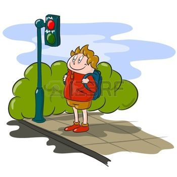 Wait crossing light clipart vector black and white library traffic light cartoon: The boy waiting to cross the road ... vector black and white library