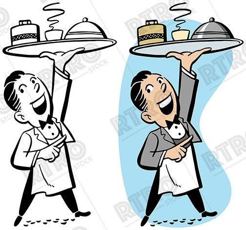 Waiter carrying tray clipart vector freeuse A waiter carrying a tray of food vintage retro clipart clip ... vector freeuse