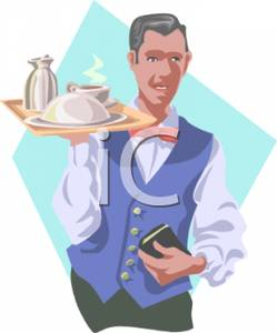 Waiter carrying tray clipart banner black and white download Waiter Carrying a Tray of Food - Royalty Free Clipart Picture banner black and white download
