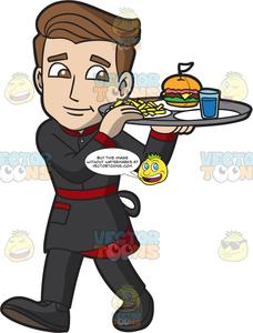 Waiter carrying tray clipart image black and white download A Waiter Carrying A Tray Of Food image black and white download