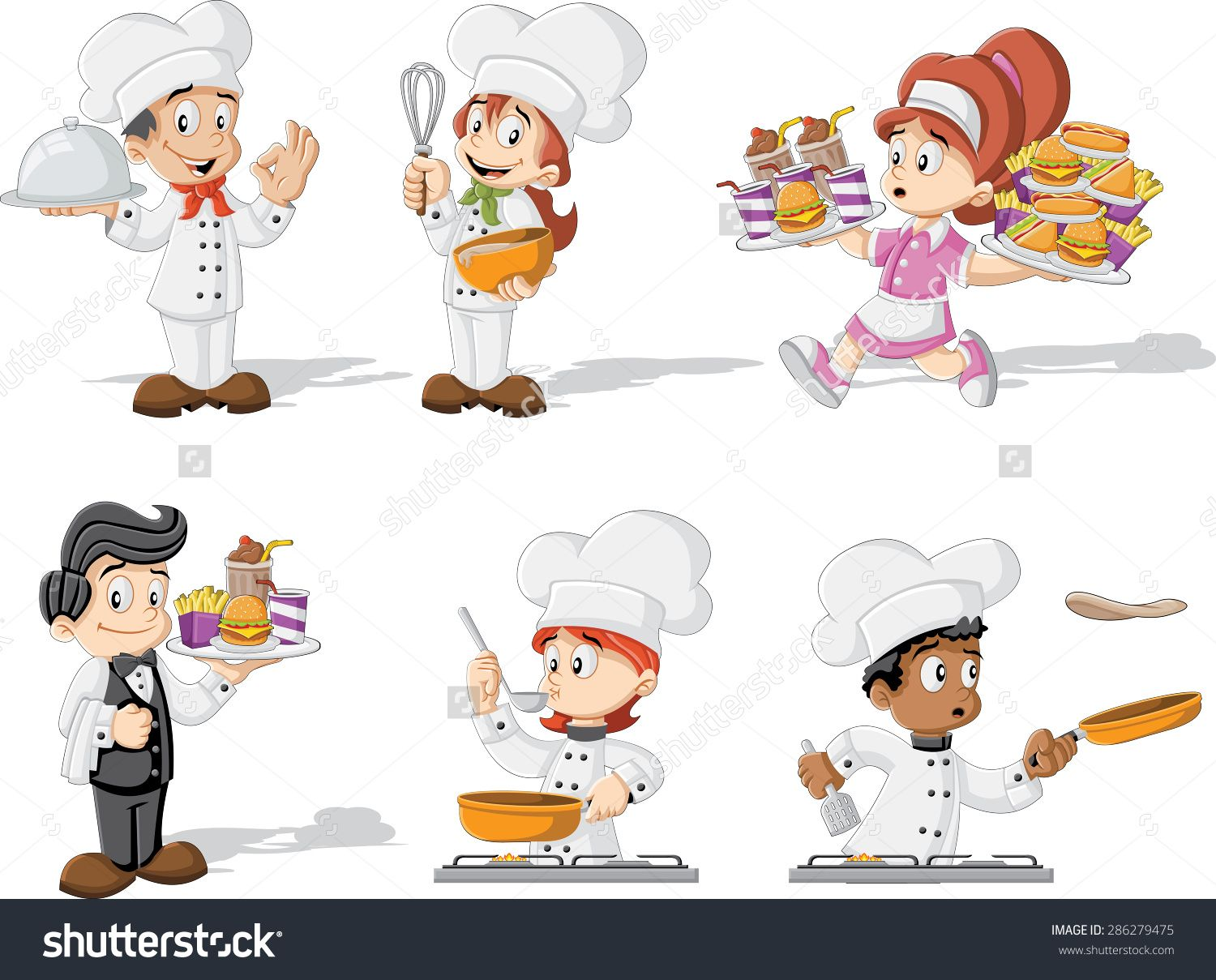 Waiters and waitresses clipart transparent library Funny Cartoon Clip Art Waitress | Cartoon chefs cooking ... transparent library