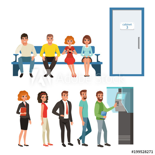 Waiting for a turn clipart clip art free library Groups of people standing and sitting in queues near ATM and ... clip art free library