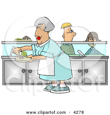 Waiting for food clipart graphic black and white Cafeteria Lady Preparing Plates of Food for School Children ... graphic black and white