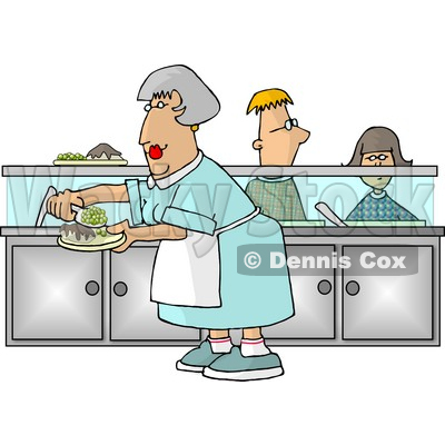 Waiting for food clipart svg library stock Lady Preparing Plates of Food for School Children Waiting In Line ... svg library stock