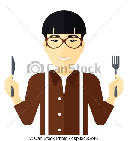 Waiting for food clipart picture black and white library EPS Vector of Hungry man waiting for food. - Hungry man with fork ... picture black and white library
