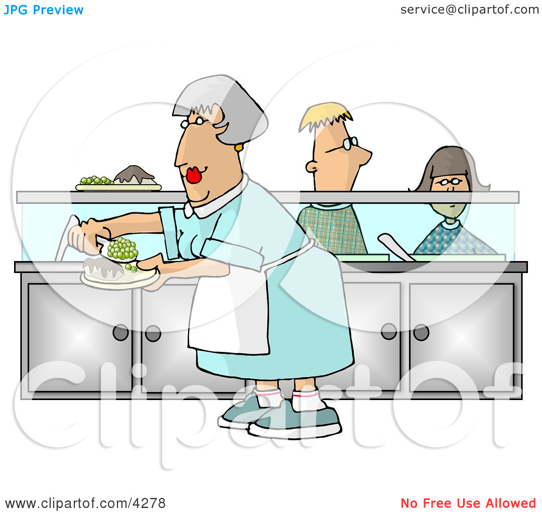 Waiting for food clipart clip art black and white download Cafeteria Lady Preparing Plates of Food for School Children ... clip art black and white download