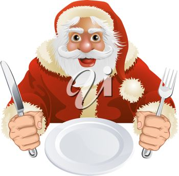 Waiting for food clipart freeuse download Picture of a Cartoon Santa Clause Sitting At a Table Holding a ... freeuse download