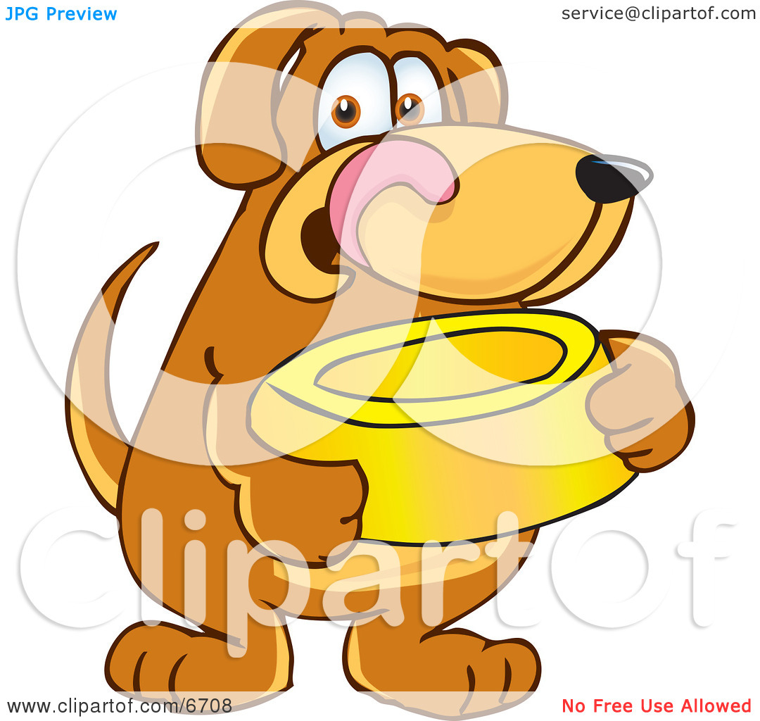Waiting for food clipart graphic freeuse Brown Dog Mascot Cartoon Character Holding a Food Dish, Waiting to ... graphic freeuse