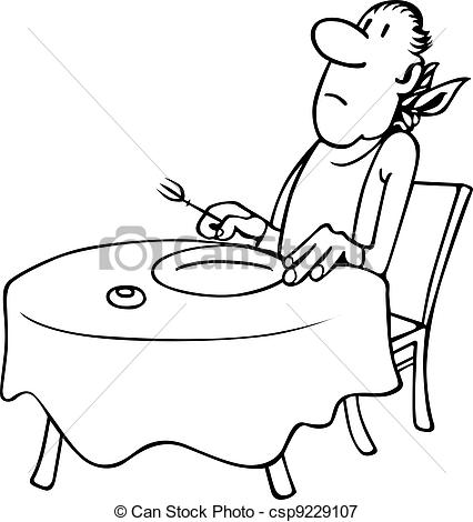 Waiting for food clipart graphic royalty free library Stock Illustrations of Restaurant visitor waiting food csp9229107 ... graphic royalty free library