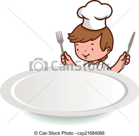 Waiting for food clipart image Clip Art Vector of Chef boy looking over blank plate - A little ... image
