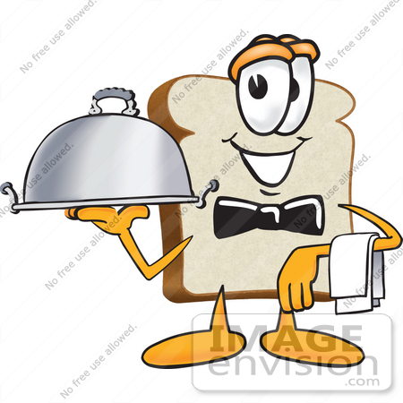 Waiting for food clipart clip freeuse stock Clip Art Graphic of a White Bread Slice Mascot Character Serving a ... clip freeuse stock
