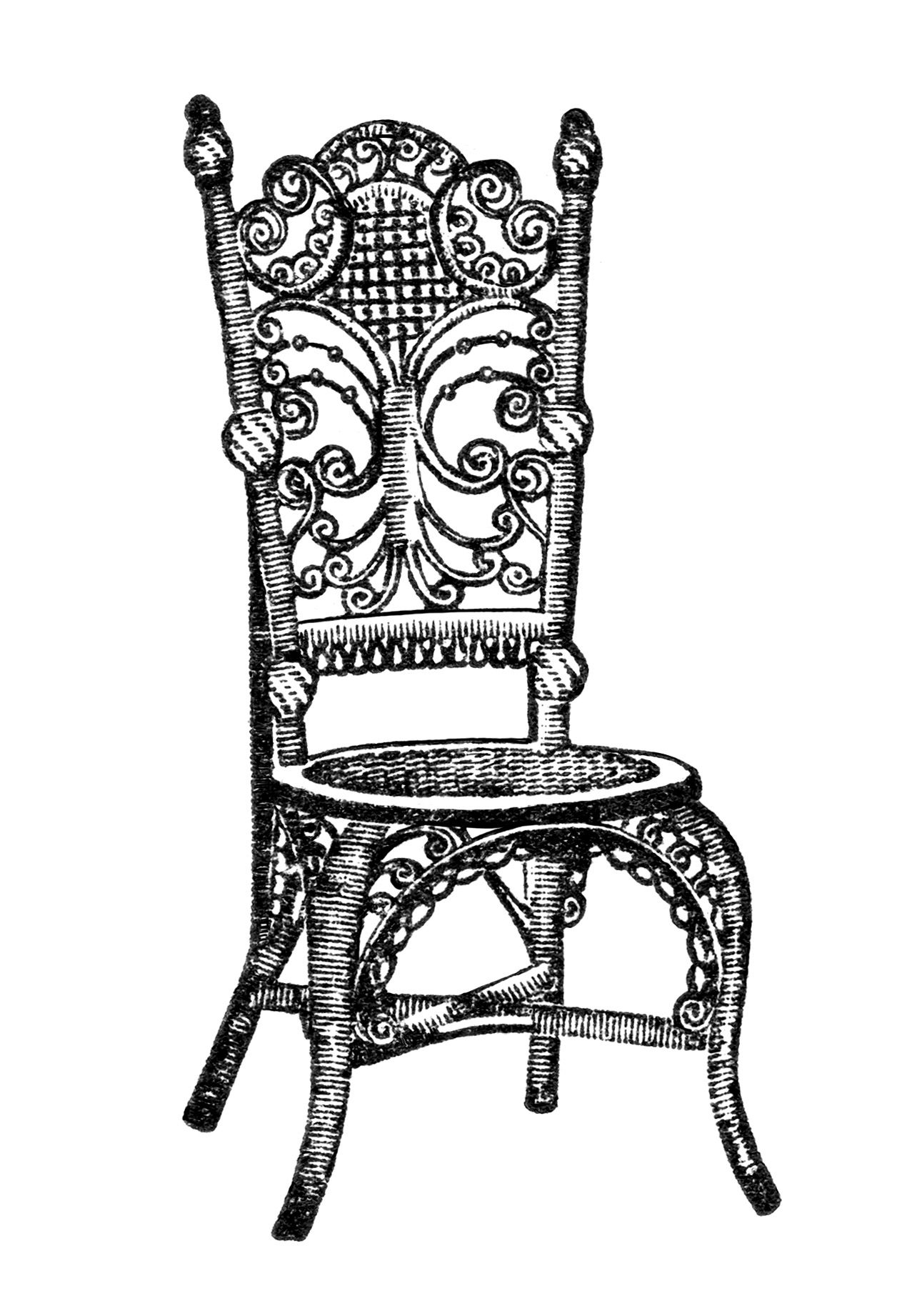 Waiting room chair clipart graphic royalty free download Ornamental Reception Chair Clip Art | Vintage Furniture ... graphic royalty free download