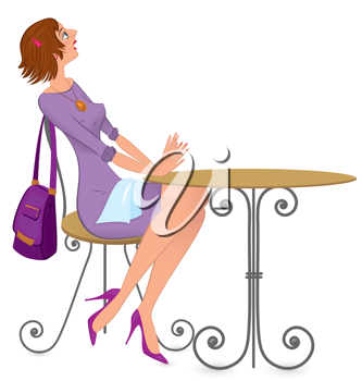 Waiting tables clipart jpg library library Royalty Free Clipart Image of a Woman Sitting at a Table ... jpg library library