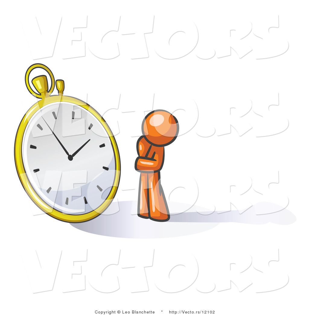 Waiting with clock clipart banner library stock Vector of Orange Guy Worried and Watching a Clock by Leo ... banner library stock