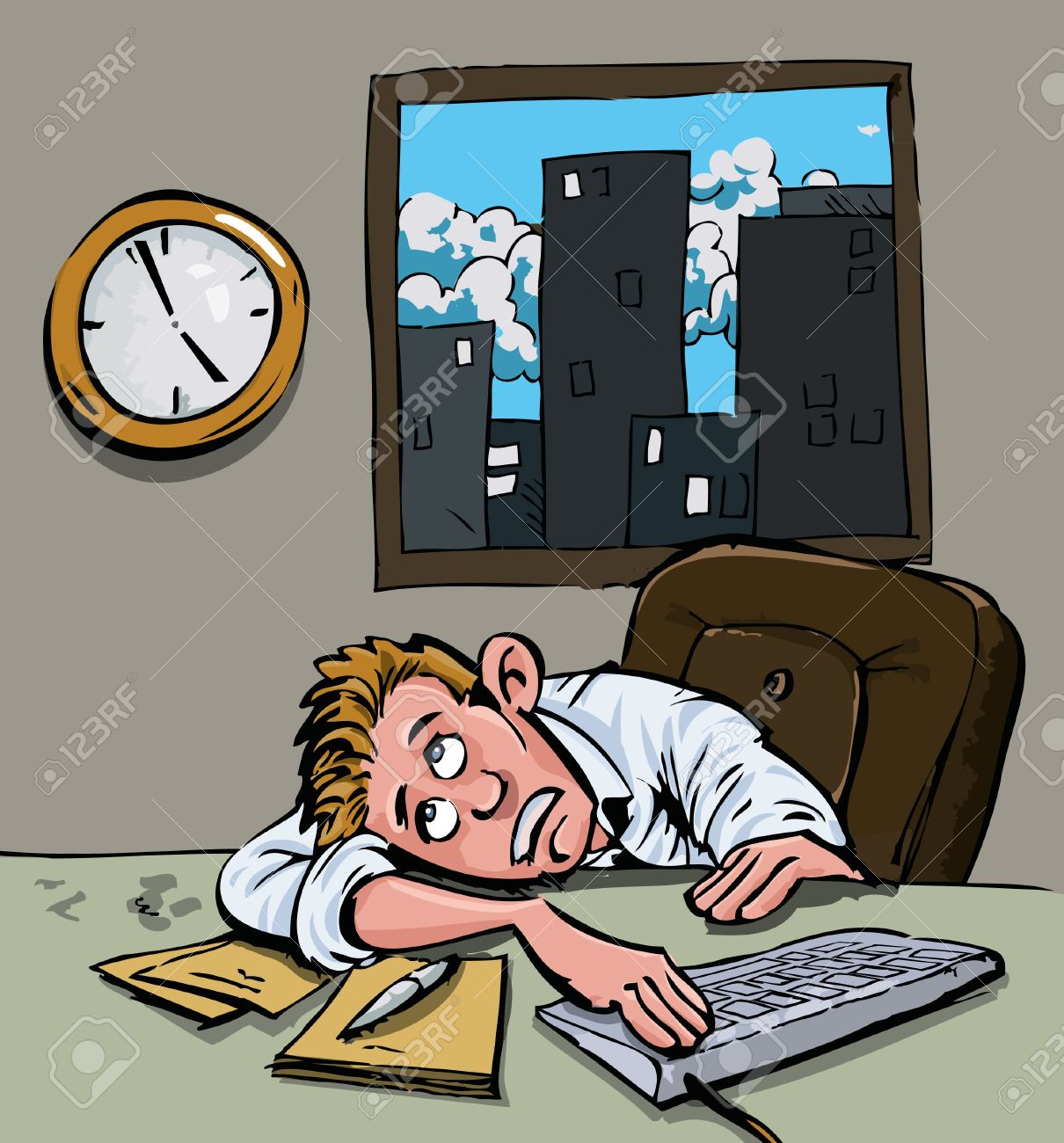 Waiting with clock clipart svg freeuse download Cartoon Of A Man Waiting For Home Time. He Stares At The Clock ... svg freeuse download