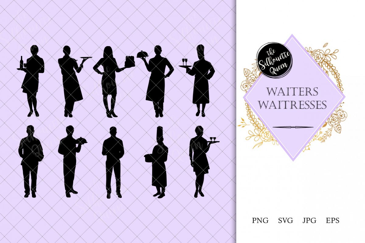 Waitress unicorn clipart png transparent download Waiters and Waitress Silhouette |Restaurant Service Vector| png transparent download