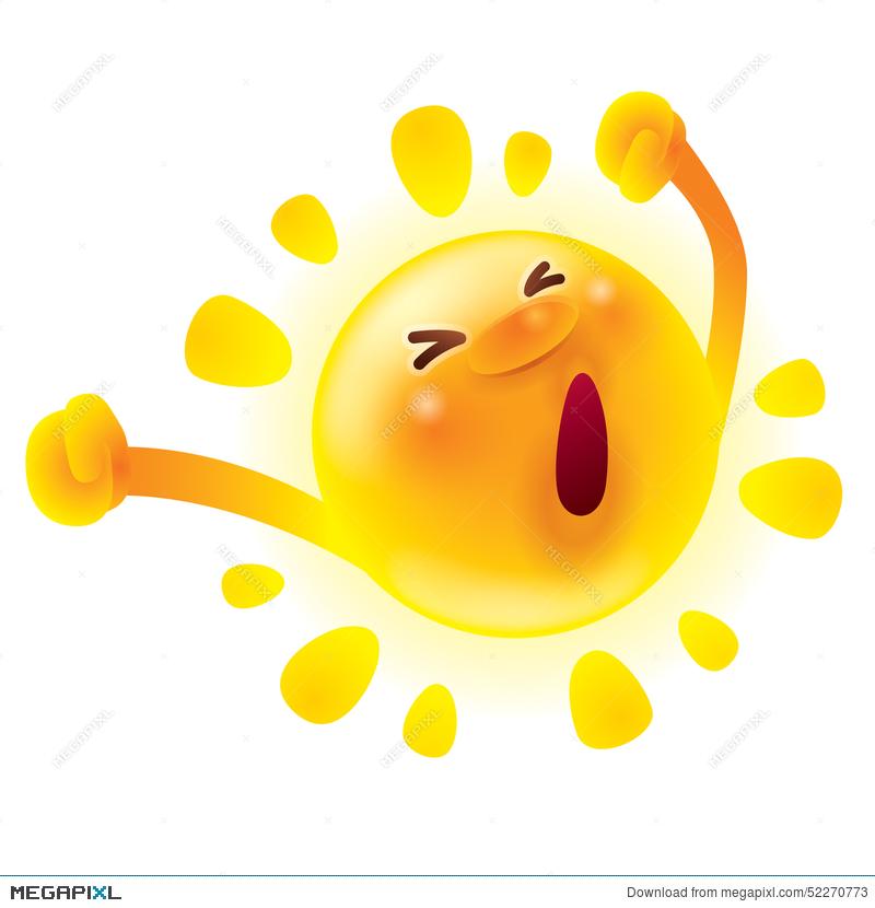 Wake up sunshine clipart picture black and white Summer Sun Stretching.waking Up. Yawning. Illustration ... picture black and white