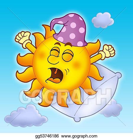 Waking sun clipart svg transparent stock Clipart - Waking up sun on blue sky. Stock Illustration ... svg transparent stock