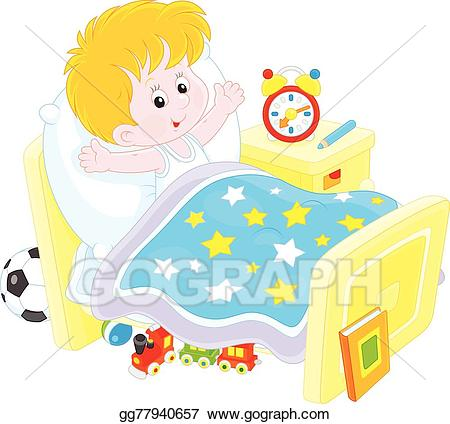 Waking up in bed clipart jpg stock Vector Stock - Boy waking up. Clipart Illustration ... jpg stock