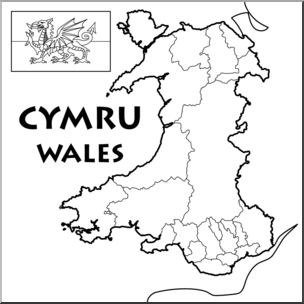 Wales clipart black and white jpg black and white library Clip Art: Wales Map B&W Blank I abcteach.com | abcteach jpg black and white library