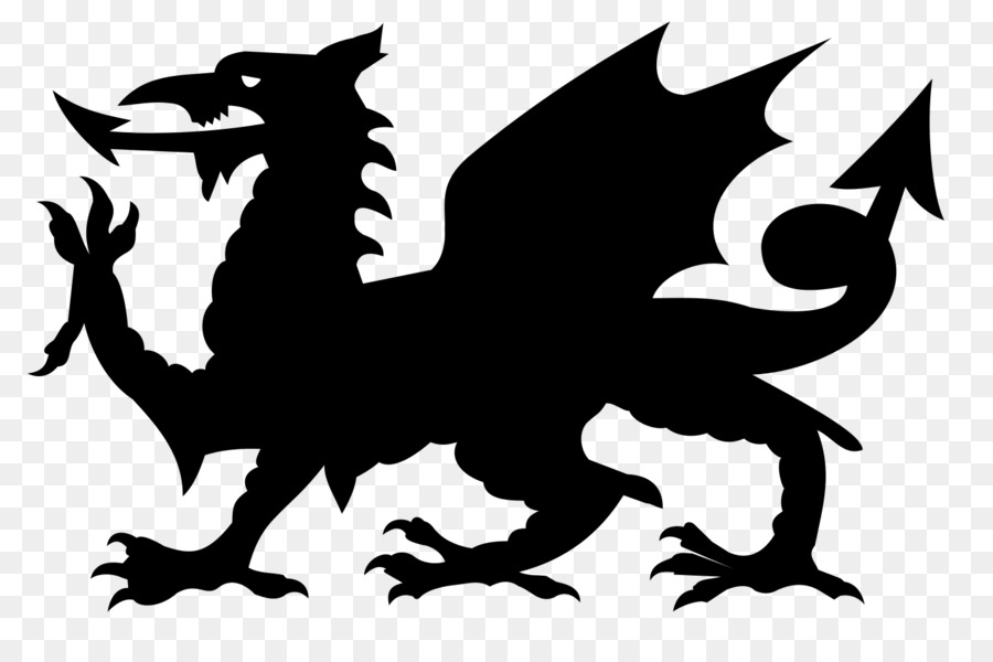 Wales clipart black and white clipart black and white stock Welsh Dragon clipart - Flag, Silhouette, Dragon, transparent ... clipart black and white stock