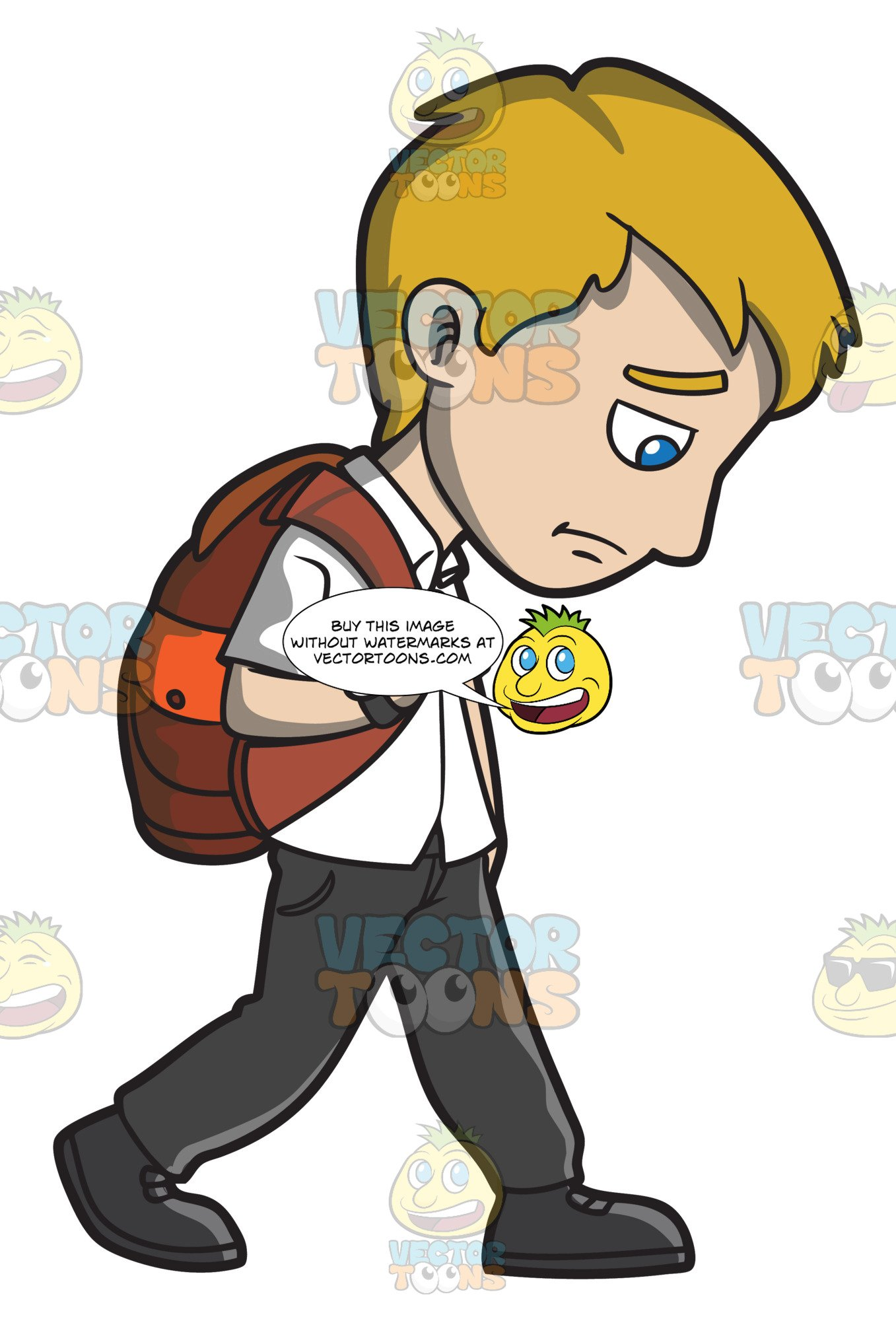 Waling home clipart picture black and white stock A Sad Young Man Walking Home From Work picture black and white stock