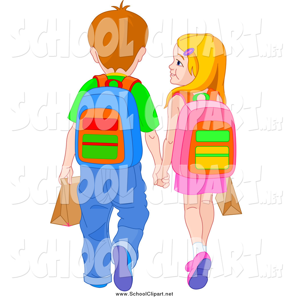 Walk holding hands clipart image download Clip Art of School Kids Holding Hands and Walking by Pushkin ... image download