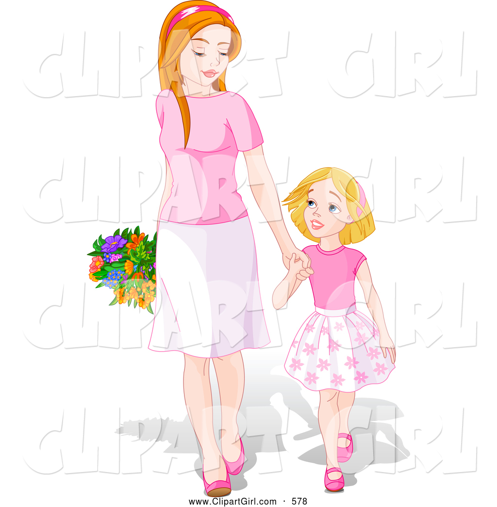 Walk holding hands clipart banner library Clip Art of a Cute and Happy Young Daughter Holding Hands ... banner library