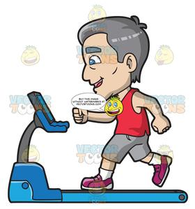 Walk on treadmill clipart vector transparent A Mature Man Walking On A Treadmill vector transparent