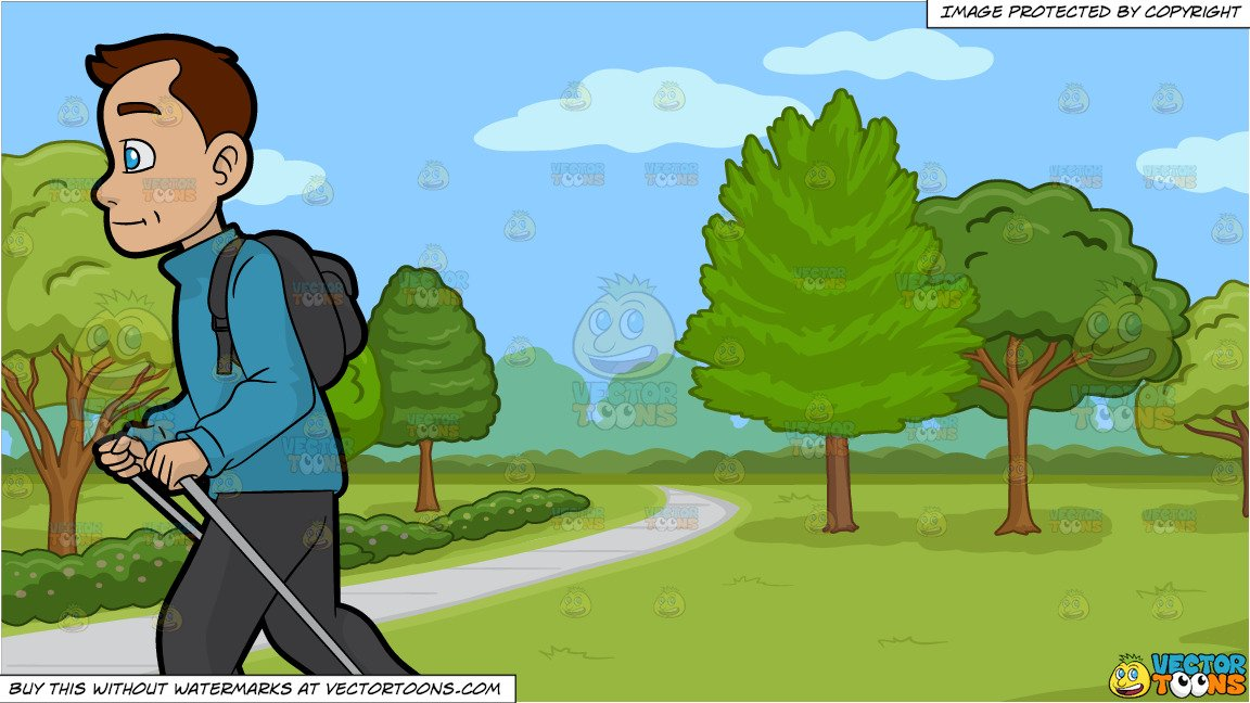 Walk the path clipart graphic transparent download A Man Doing A Solo Nordic Walk and A Pretty Park With Walking Path  Background graphic transparent download
