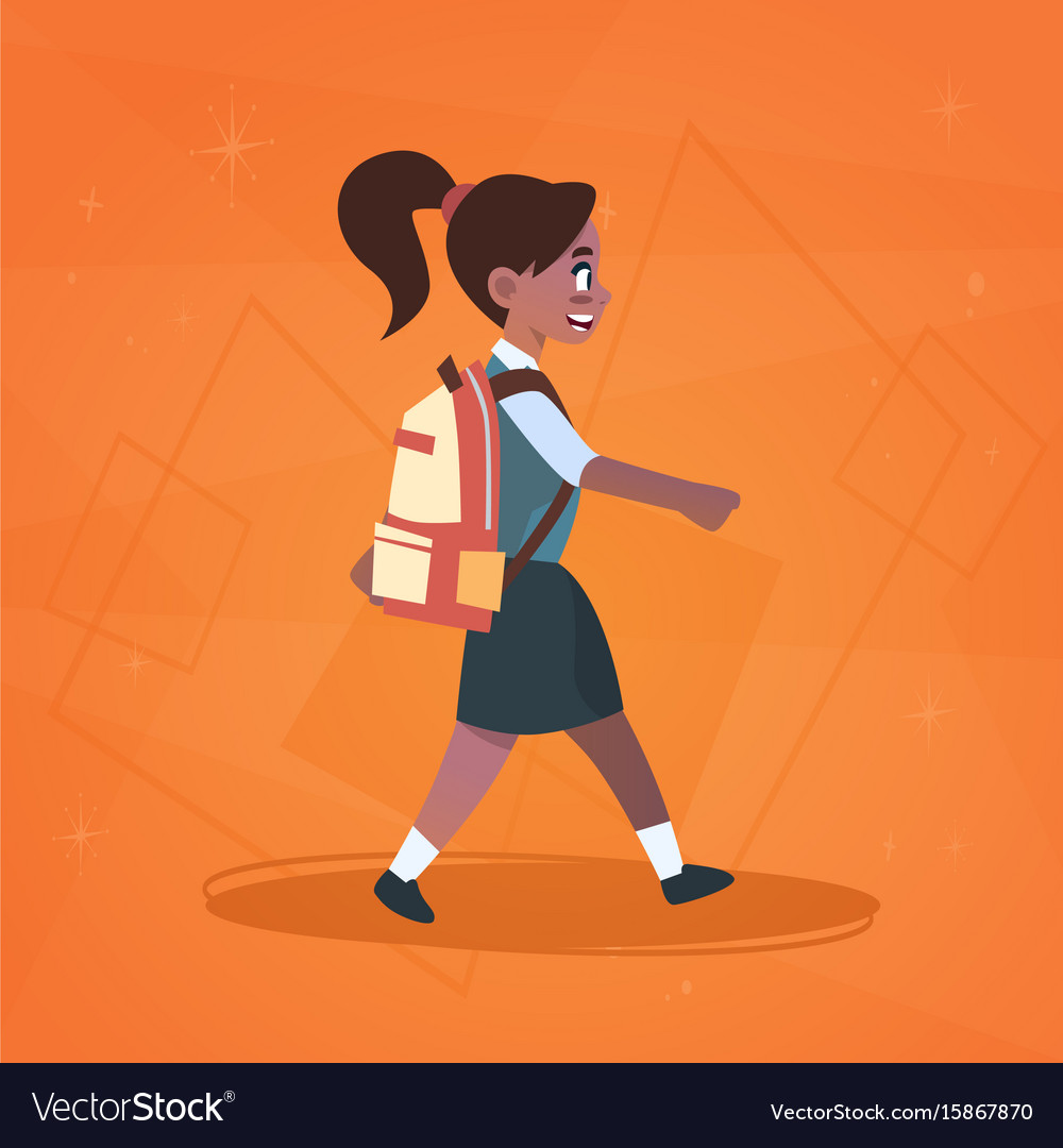 Walk to high school clipart clip transparent stock African american girl pupil walking to school clip transparent stock
