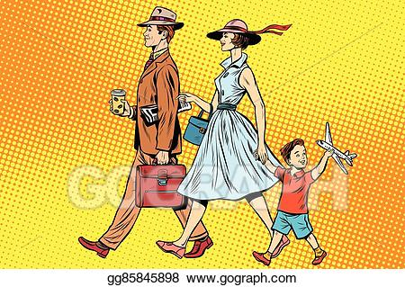 Walk with style clipart image free download EPS Illustration - Family on a walk. Vector Clipart ... image free download