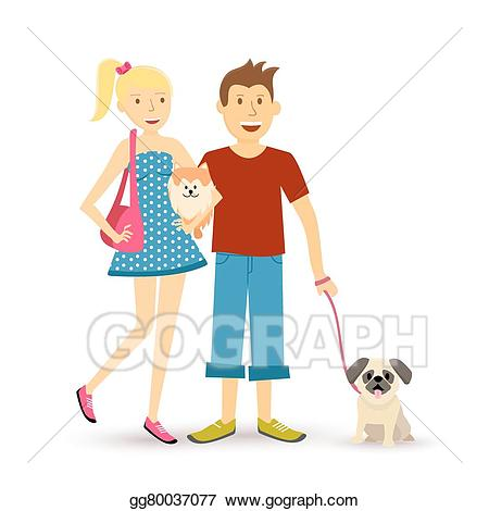 Walk with style clipart clipart transparent library Vector Stock - Happy young couple walking with pet. Clipart ... clipart transparent library